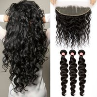 Wholesale 7A Brazilian Hair Bundles with Lace Frontal Closure Loose Wave Natural Black Color Peruvian Malaysian Indian Human Hair Weaves