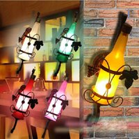 Wholesale Creative beer bottle wall lamp vintage rustic sconces for bar bedroom hallway balcony wall decor E27 LED bulb