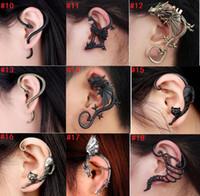 ear piercing studs - NEW Cartoon cat dragon snake ear bones no pierced ear clip Ms fashion earrings Summer nightclubs jewelry Valentine s Day earing E241