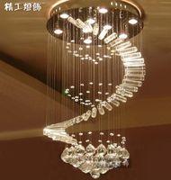 bedroom floor lamps - Modern minimalist staircase led restaurant chandelier pendant lamp crystal lamp creative living room penthouse floor length Chandelier