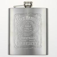 Wholesale Flagon oz set Portable Stainless Steel Embossed Flagon Pocket Wine Bottle Flask Russian Hip Flask