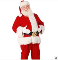 Wholesale A Full Set Of Christmas Costumes Santa Claus For Adults Blue Red Christmas Clothes Santa Claus Costume Halloween Luxury Suit