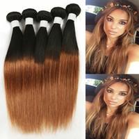 Cheap Brazilian Hair Ombre Hair Extensions 8A Brazilian Straight Hair 3pcs lot 1B 30 Ombre Human Hair Weave Bundles Hot Selling