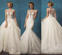 Wholesale 2017 Amelia Sposa Lace Wedding Dresses with Mermaid Two Pieces Detachable Skirt Sheer Beaded Scoop Neck Button Back Overskirts Wedding Gowns
