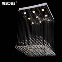 Wholesale Square Crystal chandelier Light Fixture Pyramid Shape lustres Lamp Crystal Light for Stair Foyer Hallway Ready Stock W mm