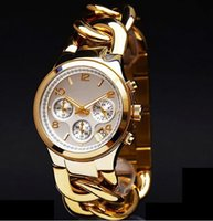 auto links - M brand Gold wristwatches Fashion Stainless Steel Hour Janpan Quartz Movement Ladies Men Dress Two Links Bracelet Watch