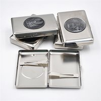 Cheap 1 X Slim Metal Tobacco Cigarette Case Box With Sticker Hold 14 100MM Cigarettes and Can Customize Logo