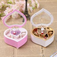 ballerina music - Heart Shape Dancing Ballerina Music Box Wooden Mechanical Musical Box Girls Carousel Hand Crank Music Box Mechanism For New Gift