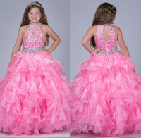 Wholesale 2016 Pink Girls Pageant Dresses Halter Luxury Rhinestone Beading Floor Length Girls Dresses Special Occasions Communion Gowns New Arrival