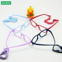 bendable eyeglasses - One piece No Screw Safe Boy Glasses Frame with Strap Size Optical Children Glasses Bendable Girls Flexible Eyeglasses
