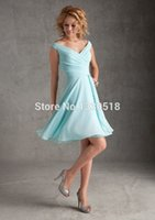 Cheap Hot 2015 V-Neck Chiffon A-Line Bridesmaid With Pleat Off The Shoulder Knee Wedding Party Dresses lime green dress