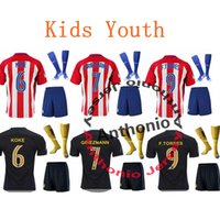 Wholesale Kids Atletico madrid FERNANDO TORRES GRIEZMANN GABI GODIN SAUL KOKE Thailand Quality Survetement Football Shirt Kits Soccer Jersey CAMISETA