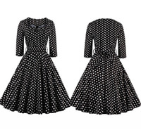 Wholesale 2016 robe vintage autumn Dot Audrey Hepburn Casual Dresses Long Sleeve dresses s s Rockabilly plus size women Midi dresses FS0476