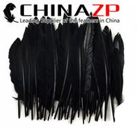 venda por atacado duck feather-Atacado 100pieces / lot Tamanho 30-35cm (12-14inch) Eco-friendly tingido pato preto penas da ala preliminar para decorações de fantasia