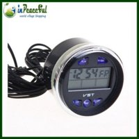 Wholesale LADA car Digital Auto Car Thermometer Car Battery Voltmeter Voltage Meter Noctilucous Clock VST V M17224