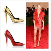 Acheter Rouge à pointes hauts talons-Nouvelle Arrivée Sexy Pointe Toe Laser Spike Talons Femmes Pompes Slip sur Design Luxe Marque GoldenRedBlack Mariage Chaussures Femme