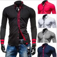 Alta dos homens da qualidade de Designer Stripes camisas de vestido Tops 2016 NOVO Casual Magro longos da luva para os homens Plus Size M-XXL venda de fábrica