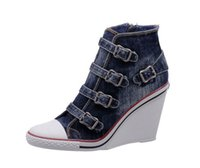 Sport Shoes ash thelma wedge sneakers - Women s ASH Thelma Canvas Buckle Wedge Sneakers Deep Blue Jeans High Top ASH Trainers Denim Fashion Tide ASH Wedge Sneaker Shoes
