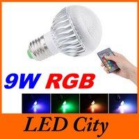 El color múltiple E27 E14 B22 GU10 llevó la luz de los bulbos RGB 9W llevó la lámpara de los proyectores para la iluminación de la Navidad / del partido + teledirigido CEUL