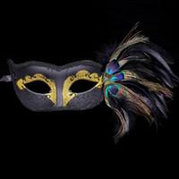 achat en gros de peinture plume de paon-5 hy Creative Peacock Feather Half Masque Peint Beauté Princess Masks Masque Halloween Party Party Exquisite Glyptostrobus Domino