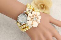 analog shorts - NEW Women Short Bracelet Watch Kanima Pearls Big Flower Bracelet Crystal Wristwatch Woman Watch Reloj Para Dama Watch