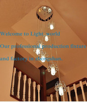 Wholesale Staircase light long chandelier crystal lamp double spiral staircase chandelier lighting minimalist villa