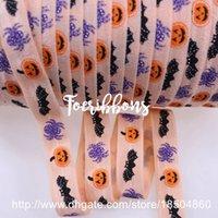 bat bow tie - 15mm printed Pumpkin spider bats fold over elastic foe hair Accessories Diy ties yards
