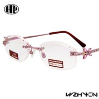 Wholesale 2016 pink women power lens gafas diamond cut rimless reading glasses stainless steel metal high quality reading glasses