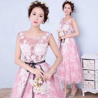al por mayor fiesta del té chino-Longitud de té vestidos de fiesta 2016 Sheer Scoop cuello blanco encaje Appliques Pink Tulle Homecoming vestidos con marco chino elegante vestido de fiesta