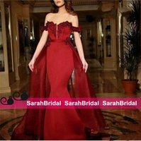 amazing wine - Hot Amazing Wine Red Mermaid Evening Dress Sexy Off Shoulder Lace Applique Prom Gowns with Peplum Train Custom made Elegant Party Wear