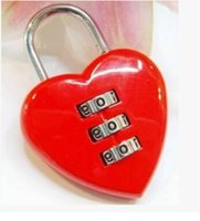 Wholesale Mini Red Heart Combination lock Padlock Digits For Travel Bag Key Lover s Gift valentine day s gift
