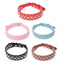basic hot diamonds - 9 Colors Exquisite Retractable Dog Diamond Collar Good Quality PU Leather Rhinestone Pet Collars Hot Sale