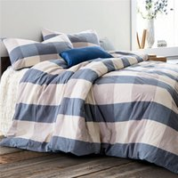 aquamarine bedding - Home textile High Quality Cotton knitting aquamarine plaid piece bedding sets queen size king size duvet cover bed sheet pillowcase