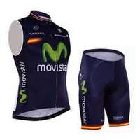 Wholesale 2016 MOVISTAR Sleeveless Cycling Jerseys Set Short With Padded Bib None Bib Trousers ETIXXL Fluo Light Green Bicycle Clothes SIZE XL XL