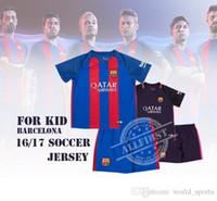 Wholesale 16 Kid Soccer Kit Cheap Home Away Youth Soccer Jersey MESSI SUAREZ A INIESTA ARDA ALEIX VIDAL etc Football Kit