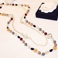 mothers day gift - Fashion Simulated Pearl Chains Necklaces High Quality Gold Plated Beaded Necklaces for Women Mother Mix Colors Long Necklaces Chokers