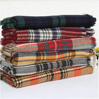 Wholesale New Women fashion Plaid Scarf Warm Soft Winter Blanket Scarf Oversized Tartan Scarf women Shawl Scarf Scarves Wraps DHL free