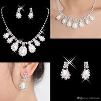 american crystal - Hot Sale Cheap New Styles Statement Necklaces Pearl Sets Bridesmaids Jewelry Lady Women s Prom Party Fashion Jewelry Earrings