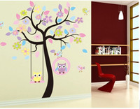 Wholesale Cute Owl Flower Tree Kids Room Kindergarten Decorative Wall Stickers PVC Art Picture Murals Waterproof DIY Stick for Adults Kids Baby