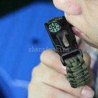 Wholesale Survival Bracelets Flint Fire Starter Paracord Whistle Gear Buckle Camping Ignition Escape Bracelet Whistle Compass Kit Hot selling