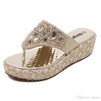 Wholesale woman leather Flip Flops Silver Gold Beading Wedge Fashion T tied PU Flat Size to