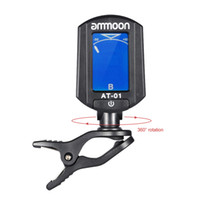 Wholesale ammoon AT Mini Clip on Guitar Tuner Digital Foldable Rotating Tuner for Chromatic Guitar Bass Violin Ukulele Guitar Parts