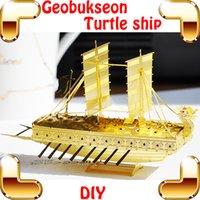 Regalos de Año Nuevo Geobukseon modelo 3D del metal barco tortuga rompecabezas de los kits modelo de barco Historia de la aleación del vehículo DIY juego de decoración