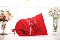 Wholesale 50 cm popular Christmas Large Canvas Bags styles for choose Santa Claus Drawstring Bags With Reindeers cotton Christmas Gift Sack Bags