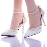 Wholesale 2016 White Pearl High Heels Wedding Sandals Crystal Pearls Bridal Wedding Party Shoes Sandals CM Princess Bridesmaid Wedding Dress Shoes