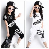 Wholesale 2016 Summer Girls Print Clothes Sets Cotton Mesh Sport Short Sleeve Short Harem Pants Girls Summer School Hip Hop Clothing Set
