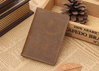 bank folders - Handmade Layer of Crazy Horse Pickup Bag Leather Leather Vintage Bank Card Folder