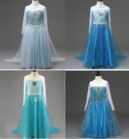 TuTu Summer A-Line New Frozen Princess Dress Elsa Anna Girl's Costume dresses Party cosplay Dress 110-1500cm