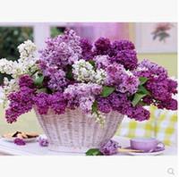 Wholesale Diamond Embroidery Diamond Painting Cross Stitch Sets Purple Flower Baskets Diamond Mosaic Rhinestones