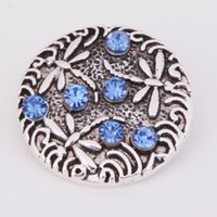 Wholesale noosa new style hot sale metal blue dragonfly round rhinestone mm snap buttons fit DIY snap bracelets jewelry women D203